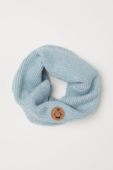 Knitted tube scarf - Light turquoise marl - Kids | H&M