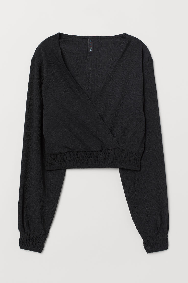 Cropped top with smocking - Black -  | H&M
