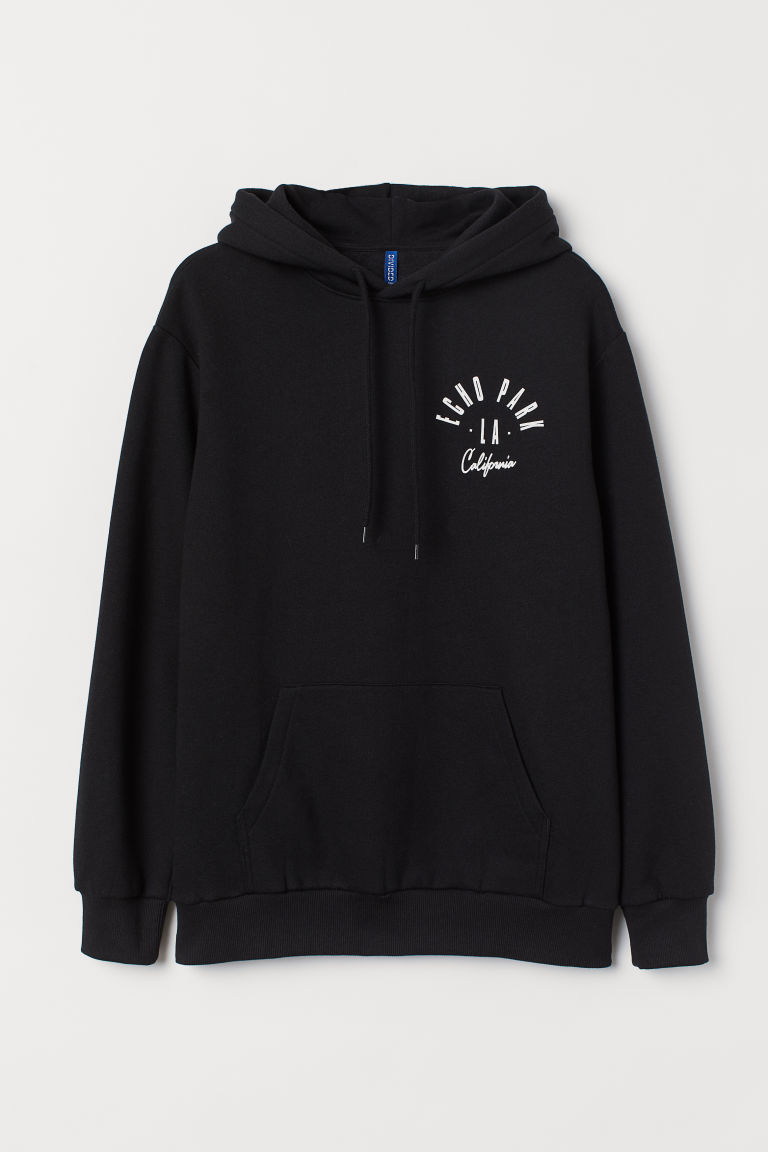 Hooded top with a motif - Black/Echo Park - Men | H&M IE