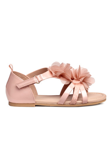 Appliquéd sandals - Powder pink - Kids | H&M