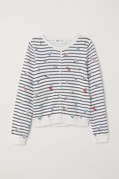 Cotton cardigan - White/Floral - Kids | H&M CN