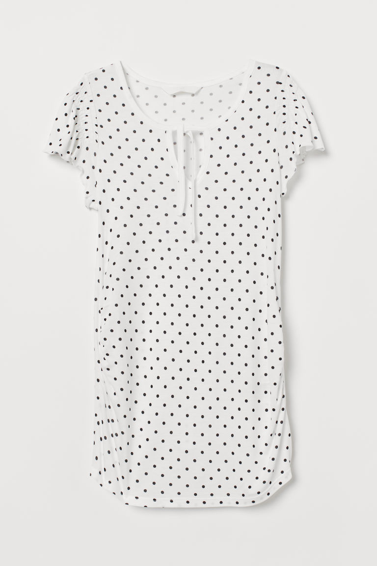 MAMA Jersey Top - White/dotted - Ladies | H&M CA