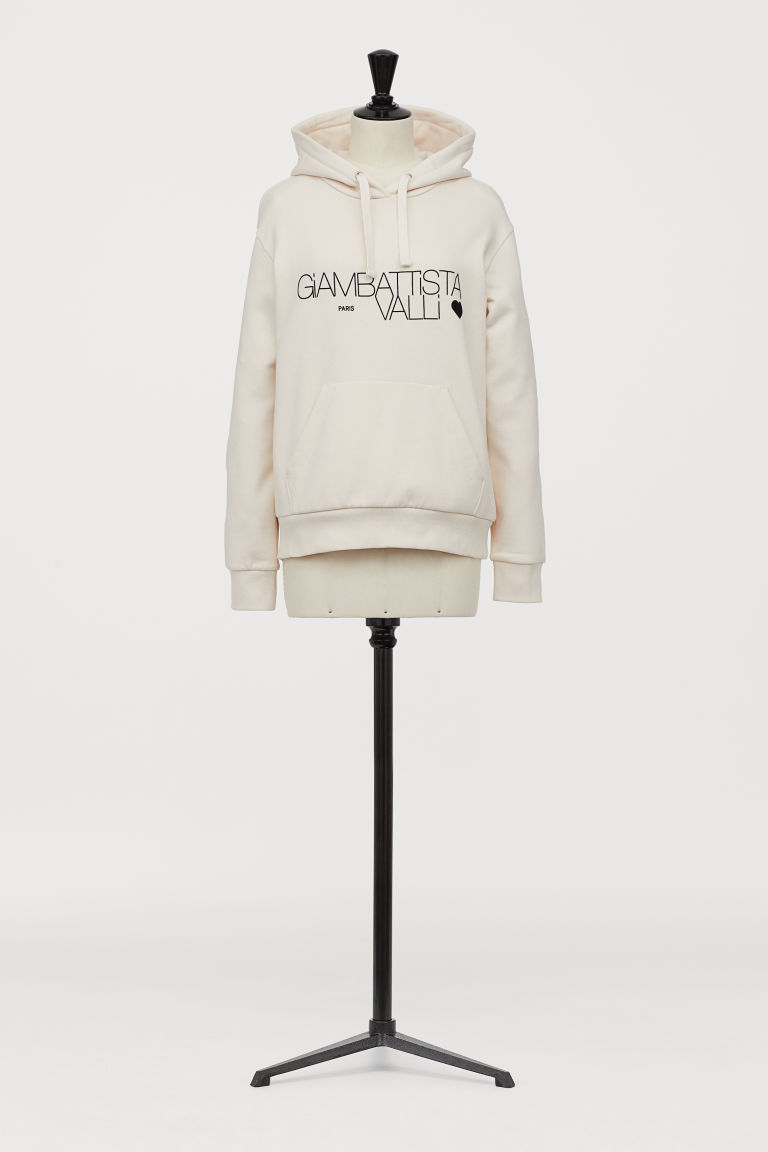 Hooded top with a flock print - Cream - Ladies | H&M
