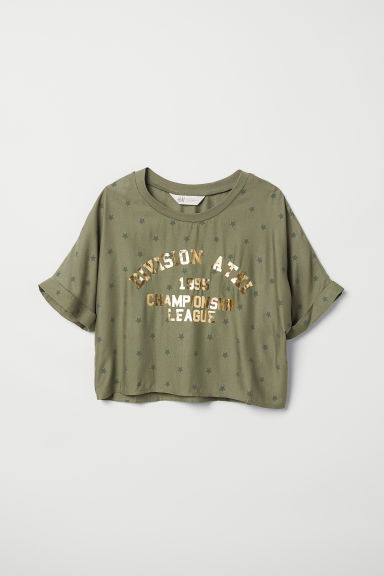 Short top - Khaki geen/Star print - Kids | H&M