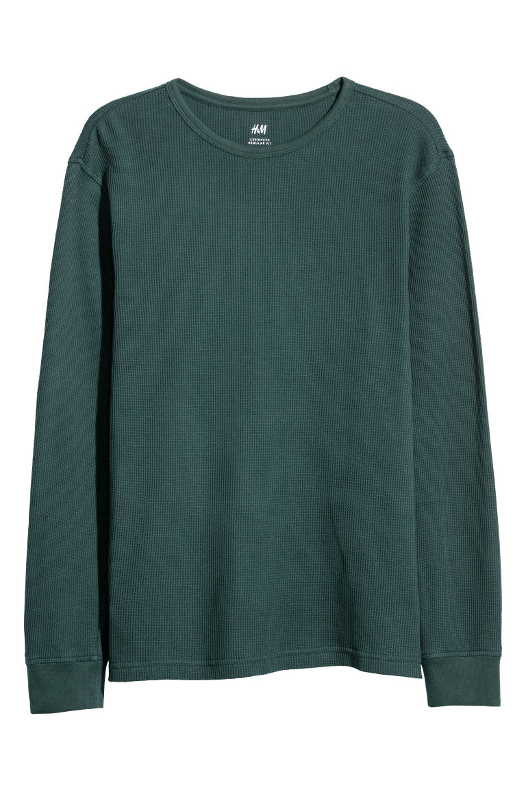 Waffled top - Dark green - Men | H&M