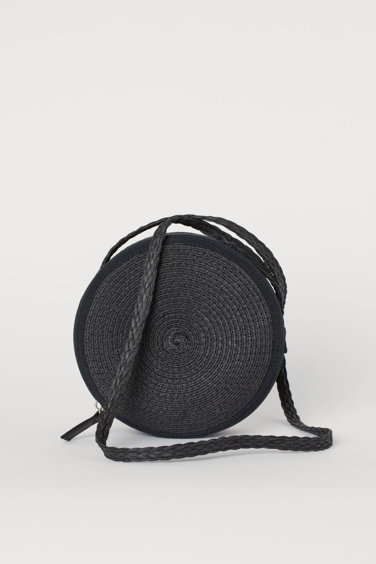 Straw shoulder bag - Black -  | H&M