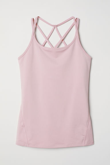 Sports top with sports bra - Light pink - Ladies | H&M CN