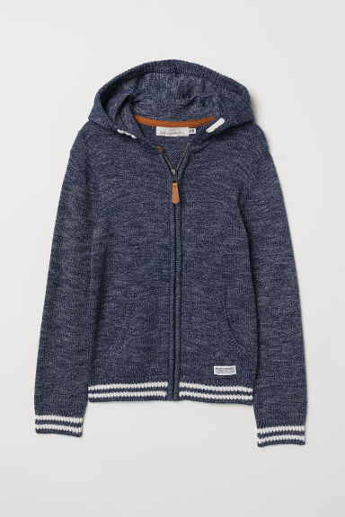 Knitted hooded jacket - Dark blue marl - Kids | H&M