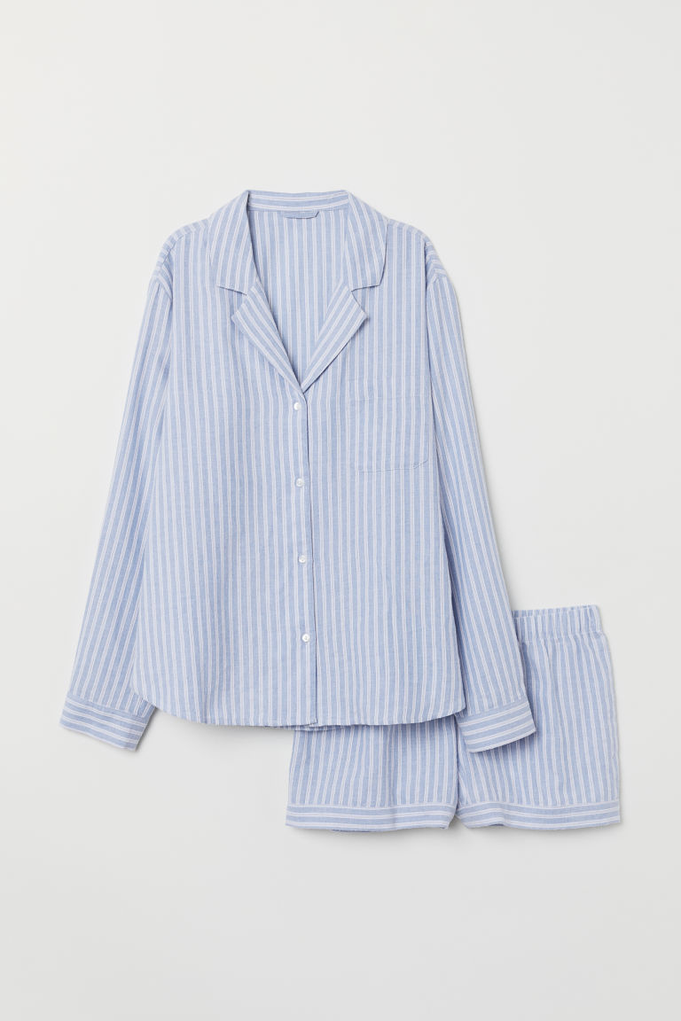 Pyjama shirt and shorts - Light blue/Striped - Ladies | H&M