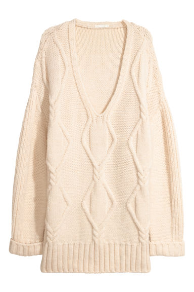 Cable-knit jumper - Natural white -  | H&M CN
