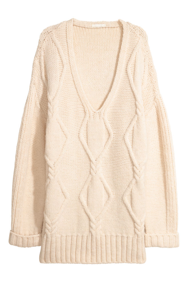 Cable-knit Sweater - Natural white - | H&M US