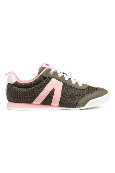 Mesh trainers - Dark khaki green/Light pink - Kids | H&M