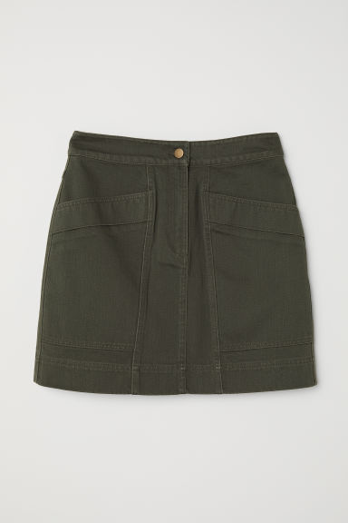 Twill skirt - Dark khaki green - Ladies | H&M