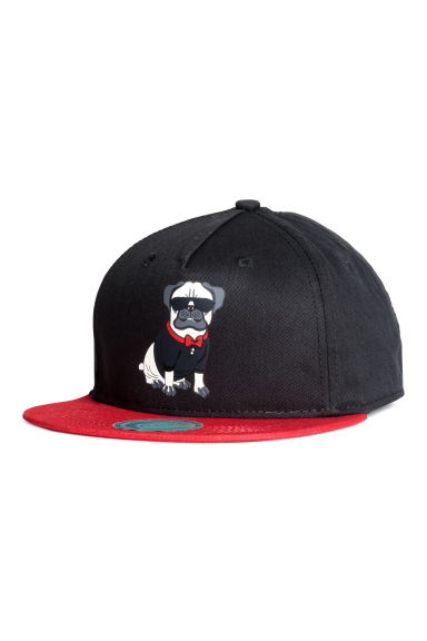 Printed cap - Black/Pug - Kids | H&M CN