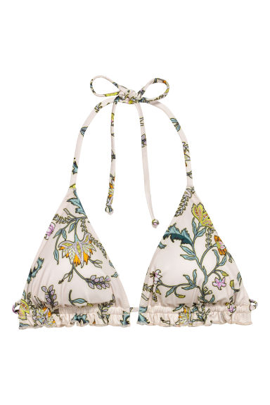Triangle bikini top - Natural white/Floral -  | H&M