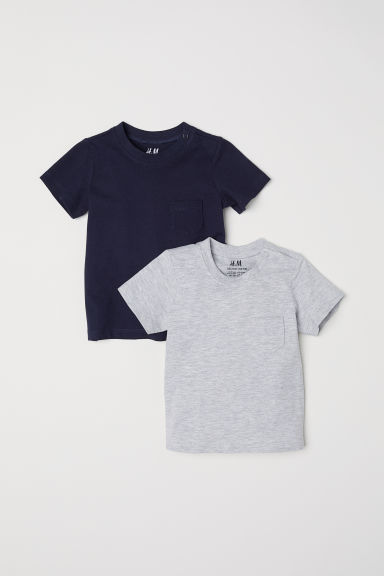 2-pack T-shirts - Dark blue/Grey - Kids | H&M CN