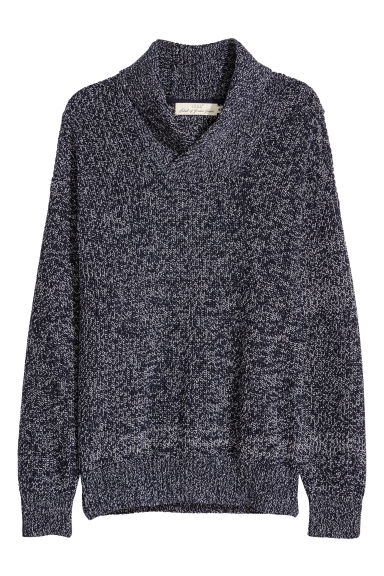 Shawl-collar jumper - Dark blue marl - Men | H&M