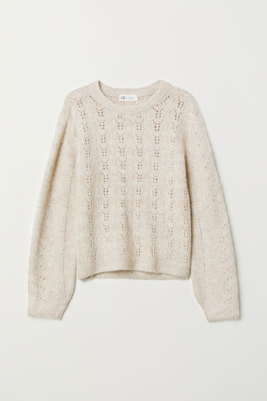 Textured-knit jumper - Beige marl - Kids | H&M CN