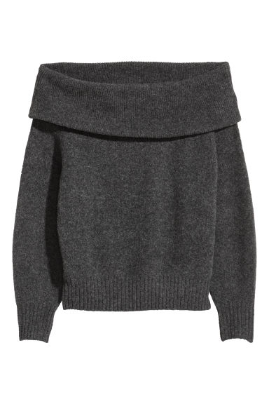 Off-the-shoulder jumper - Dark grey marl -  | H&M GB