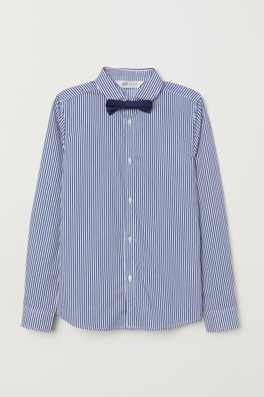 Shirt with a tie/bow tie - Striped/Bow tie - Kids | H&M CN