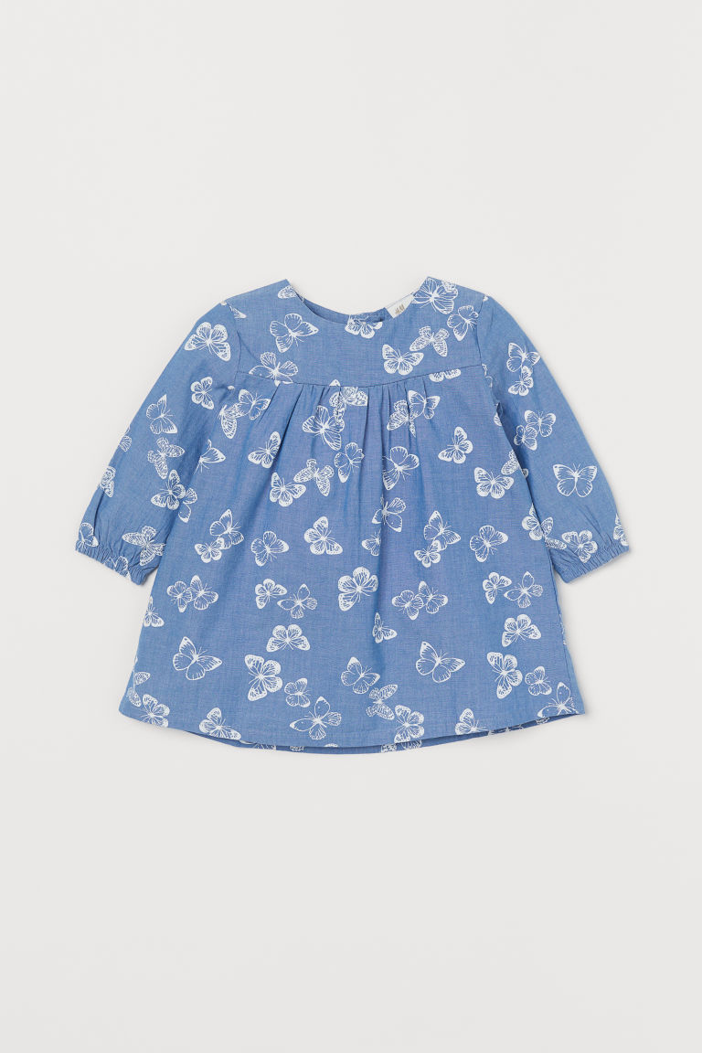 Long-sleeved cotton dress - Blue/Butterflies - Kids | H&M