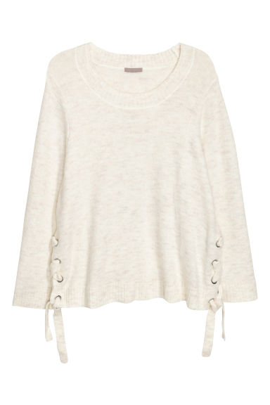 H&M+ Knitted jumper - White marl - Ladies | H&M GB