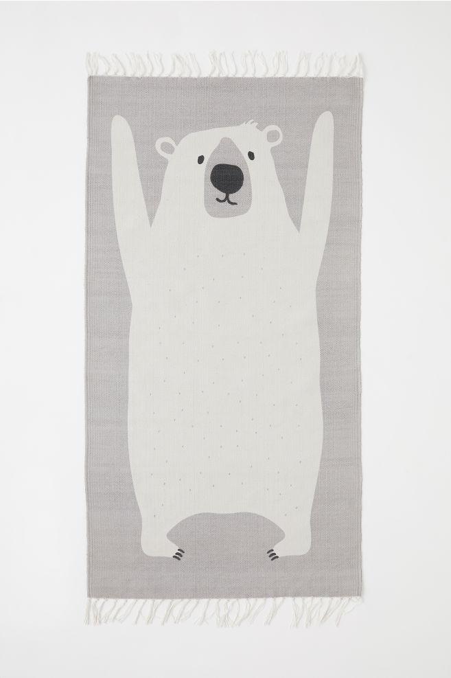 476dfcc9c3 Cotton Rug with Printed Motif - Light gray polar bear - Home All ...