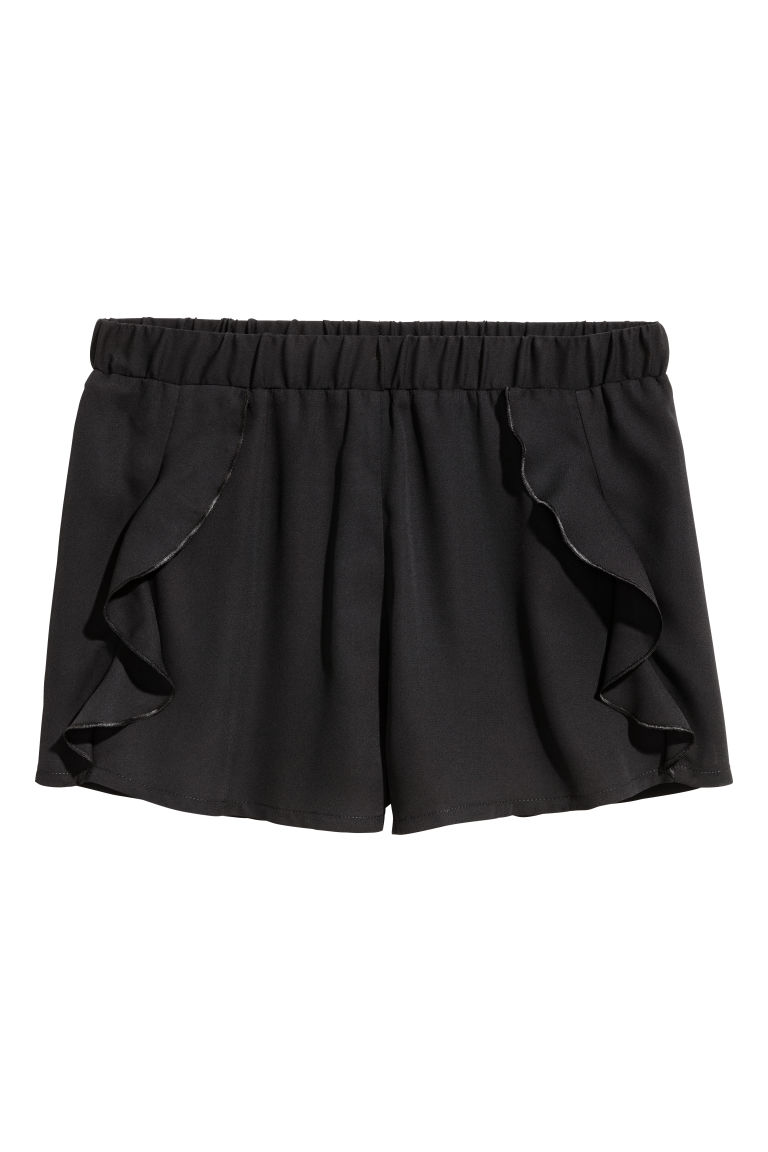 Shorts with frills - Black -  | H&M CN