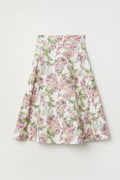 Scuba skirt - White/Floral - Ladies | H&M CN