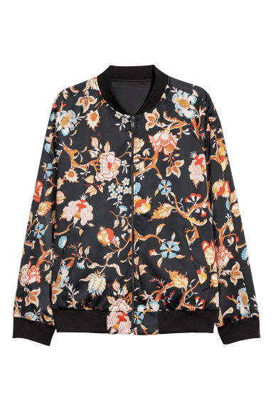 Reversible bomber jacket - Black/Floral - Men | H&M