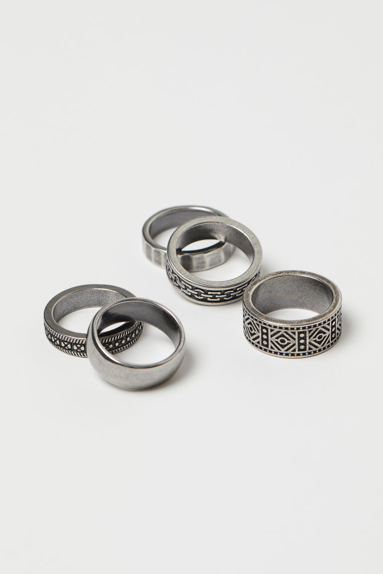 5-pack rings - Silver-coloured - Men | H&M IN