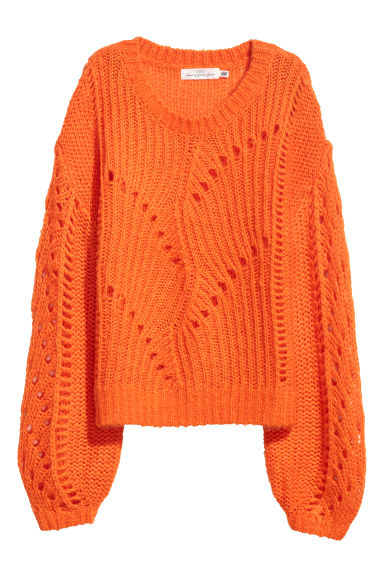 Knitted mohair-blend jumper - Orange - Ladies | H&M IE
