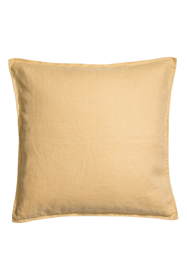 Washed linen cushion cover - Light yellow - Home All | H&M IE