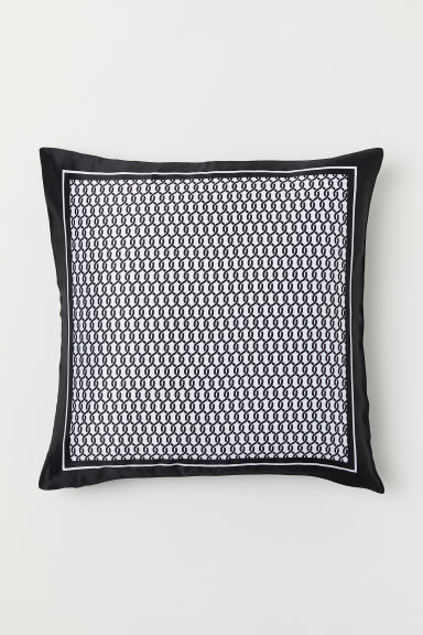 Satin cushion cover - Black/Patterned - Home All | H&M CN