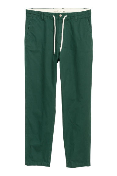 Drawstring cotton chinos - Dark green - Men | H&M