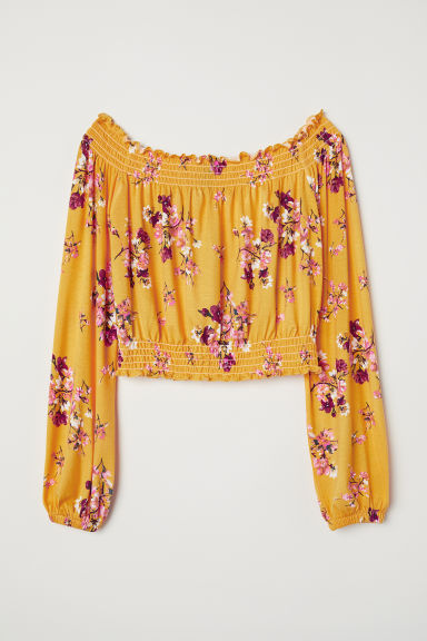 Off-the-shouldertop - Geel/bloemen -  | H&M BE