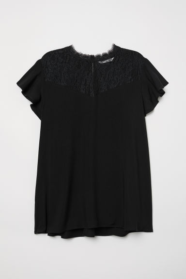 Blouse with a lace yoke - Black - Ladies | H&M