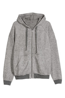 Textured-knit hooded jacket