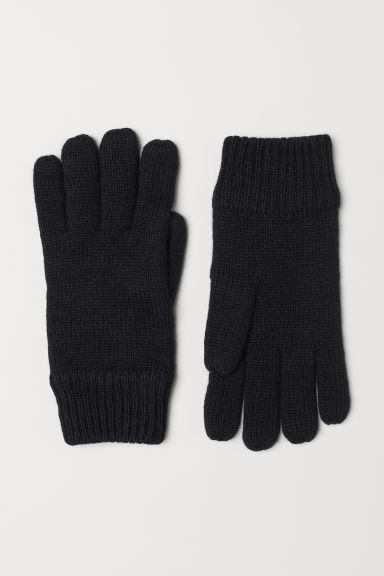 Knitted wool-blend gloves - Black - Men | H&M