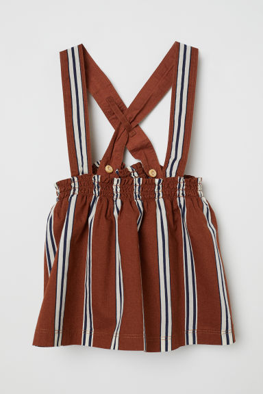 Striped dungaree dress - Brown/Striped - Kids | H&M CN