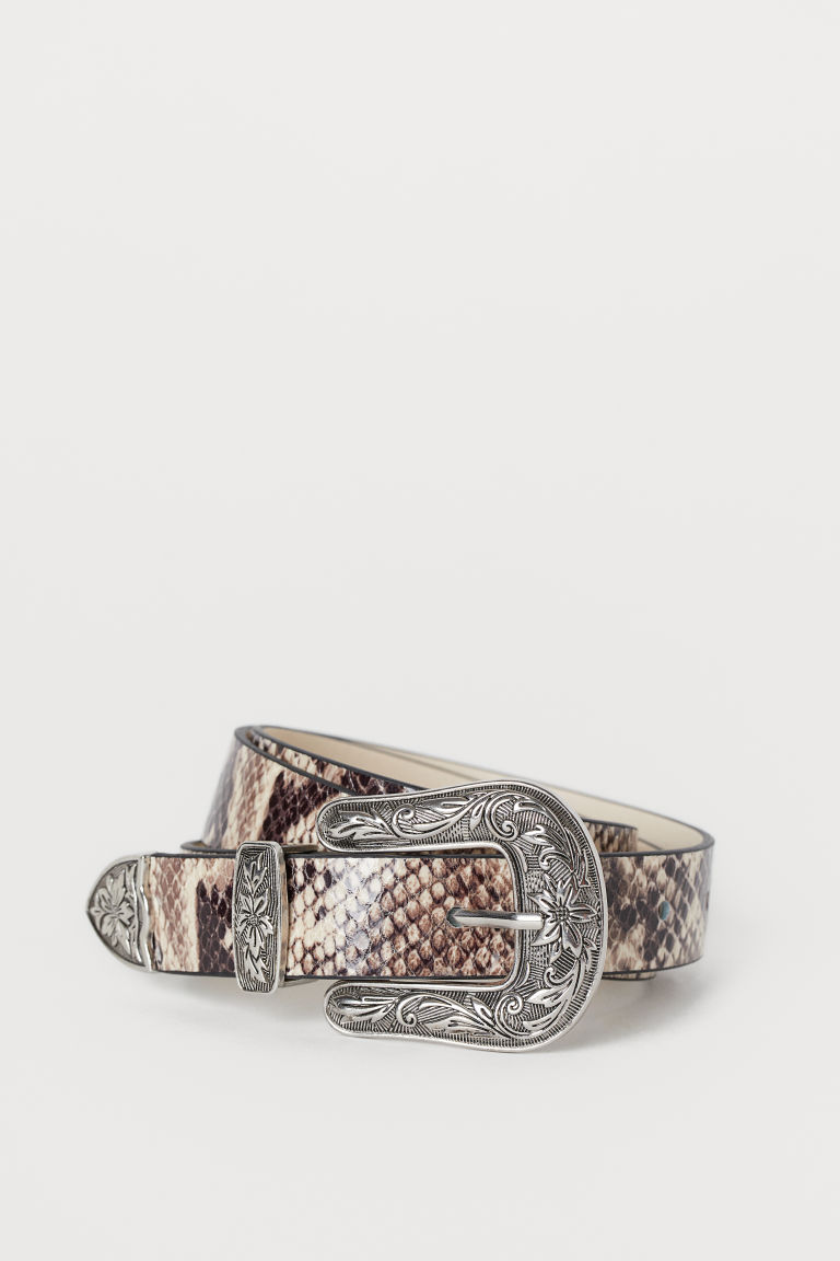Narrow Belt - Beige/snakeskin-patterned - Ladies | H&M CA