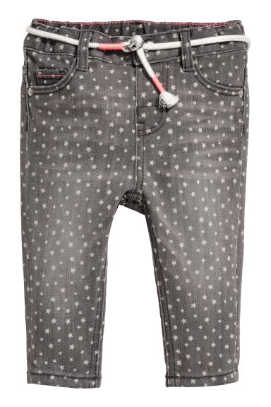 Jeans with a belt - Dark grey/Stars - Kids | H&M CN