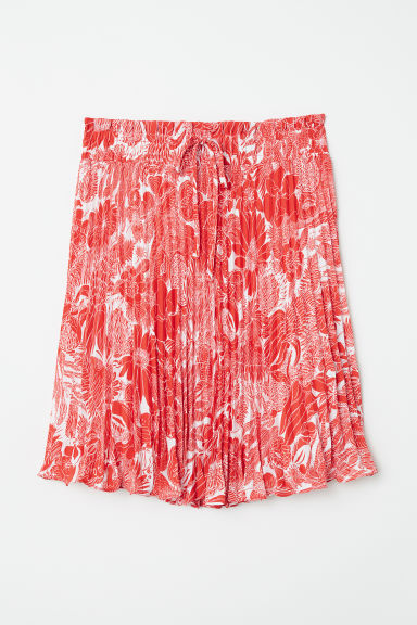 Pleated skirt - White/Red floral - Ladies | H&M