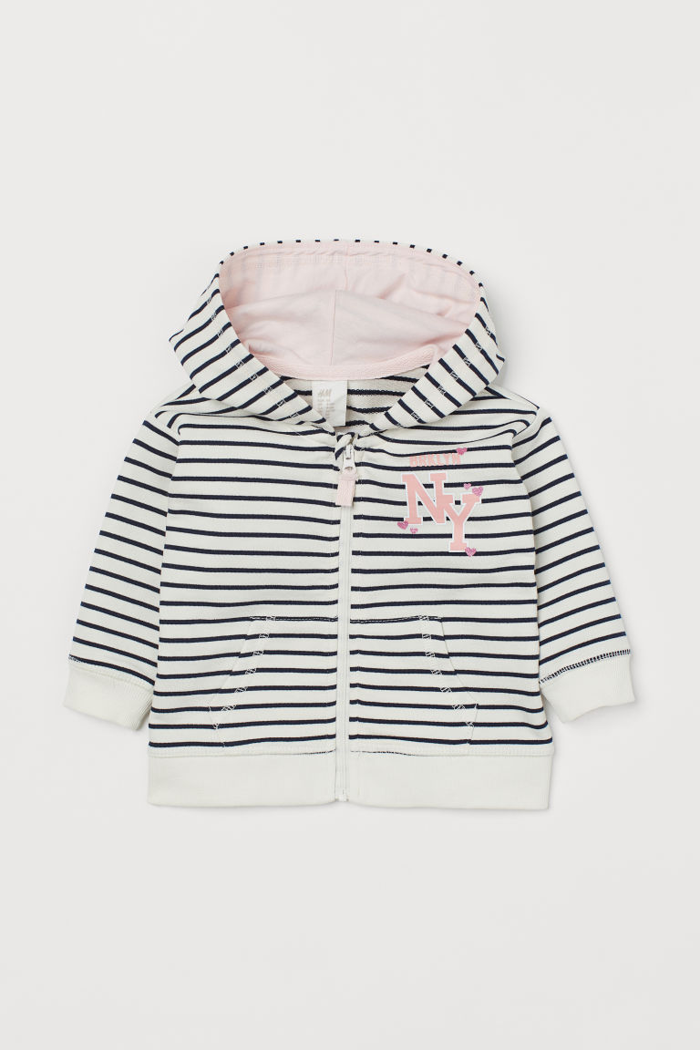 Hooded jacket - Natural white/Striped - Kids | H&M IN