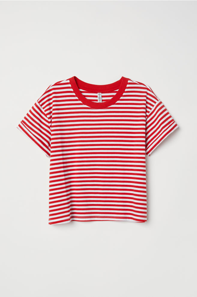 f8c2dab4427b3 Short T-shirt - Red white striped - Ladies