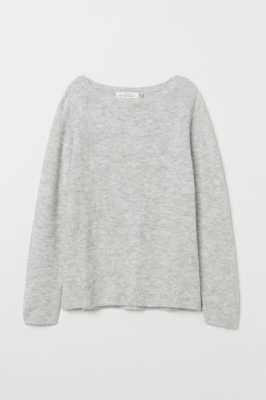 Boat-neck jumper - Light grey marl - Ladies | H&M CN