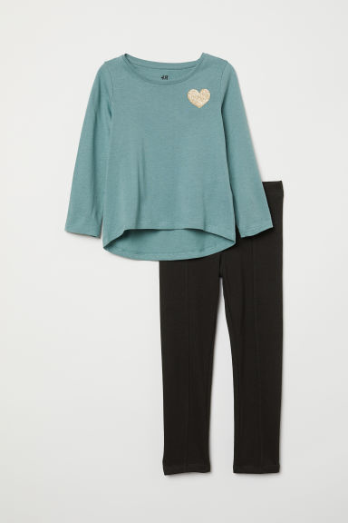 Top and leggings - Turquoise/Heart - Kids | H&M