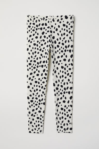 Jersey leggings - Natural white/Spotted - Kids | H&M CN