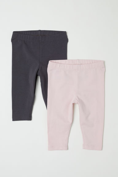 2-pack leggings - Lys rosa/Mørk grå - BARN | H&M NO