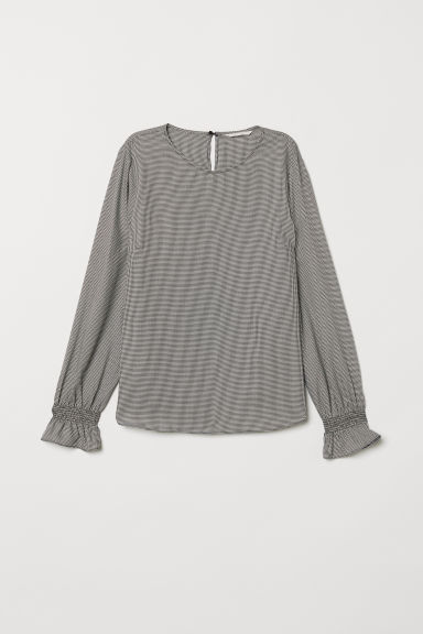 Blouse with smocking - Natural white/Dogtooth pattern - Ladies | H&M